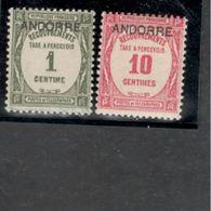 Andorra(French)1931-2 :  Yvert TT9-10mh* Cat.Value $12 - Andorre Français