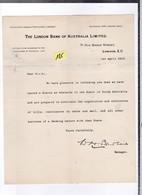 Un Courrier   Bank London  Of  Australia  Limited   Année 1910 - United Kingdom