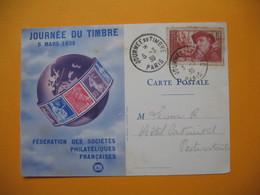 """Journée Du Timbre  5 Mars  1939  """" Pour Les Chômeurs Intellectuels 1F+10c """" - Journée Du Timbre"""