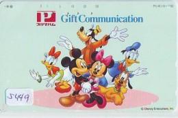 Télécarte Japon / 110-834 - DISNEY - MICKEY MINNIE DONALD DAISY Chien Dog (5449)  Japan Phonecard - Disney