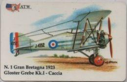 Scheda Telefonica ATW Serie Aerei N. 1 Gloster Grebe Kk. 1 Caccia Gran Bretagna 1923 - Aerei