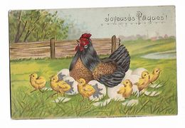 Poule  Et 6  Poussins  Sortent  Les  Oeufs  ( Gaufrée ) - Pâques