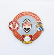 Badge Pin: UEFA Champions League Group A 2013-14 Shakhtar Donetsk, Real Sociedad, Bayer 04 Leverkusen, Manchester United - Football