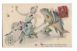 """Jolie  Femme  En Brouette  Poussée  Par  Poisson -  """"  Acceptez  Ce  Poisson , Cette Carte  Et  Ces  Fleurs...."""" - 1er Avril - Poisson D'avril"""
