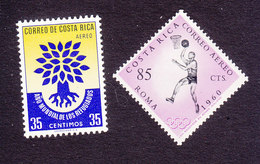 Costa Rica, Scott #C290, C310, Mint Hinged, Uprooted Oak, Basketball, Issued 1960 - Costa Rica
