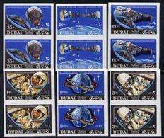 Dubai 1966, Space, Gemini, 6 IMPERFORATE Pair, - Dubai