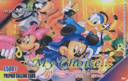 Télécarte Prépayée De MONGOLIE - DISNEY - MICKEY DONALD Daisy Ecureuil Chien Dog - MONGOLIA Phonecard - Disney