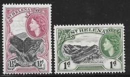 St. Helena, Scott # 141-2 Mint Hinged Flax Plantation, Waterfall, 1953 - Saint Helena Island