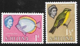 St. Helena, Scott # 159-60 Mint Hinged Fish, Bird, 1961 - Saint Helena Island