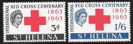 St. Helena, Scott # 174-5 Mint Hinged Red Cross, 1963 - Saint Helena Island