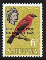 St. Helena, Scott # 178 Mint Hinged Bird, Overprinted, 1965 - Saint Helena Island