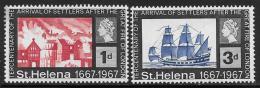 St. Helena, Scott # 197-8 MNH Tercentenary Of The Great Fire Of London, 1967 - Saint Helena Island