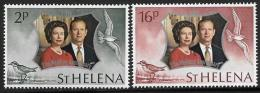 St. Helena, Scott #271-2 MNH Silver Wedding, 1972 - Saint Helena Island