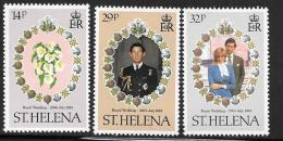St. Helena, Scott #353-5 Mint Hinged Royal Wedding, 1981 - Saint Helena Island