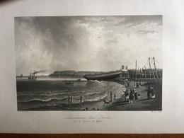 (Normandie) Le Havre: Lancement D'un Navire Sur Le Perrey Du Havre. Gravure à L'aquatinte De 1840. - Normandie