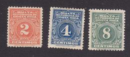 Costa Rica, Scott #J9-J11, Mint Hinged, Postage Due, Issued 1915 - Costa Rica