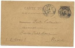CARTE POSTALE SAGE 10c  / NERAC LOT ET GARONNE POUR NIORT / 1891 - Marcofilia (sobres)