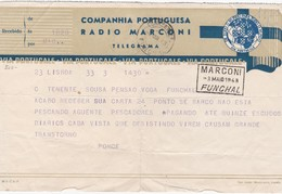PORTUGAL - TELEGRAMA - COMPANHIA PORTUGUESA RADIO MARCONI - FUNCHAL - MADEIRA 1943 - Radio & TSF