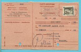 """480 Op Ontvangkaart (Carte-recepisse) Met Stempel BRUXELLES, Met Firmaperforatie (perfin) """"J.V."""" Van Jules Verberckt - 1934-51"""