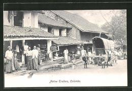 AK Colombo, Native Traders, Händler Vor Ihren Geschäften - Sri Lanka (Ceylon)