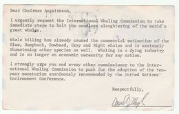 1979 ANTI WHALING PROTEST Mail Card USA Addresssed To Chairman INTERNATIONAL WHALING COMMISSION GB Whales , Stamps Whale - Whales