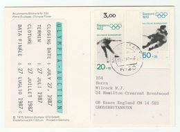 1987 GERMANY Olympia Auction Card OLYMPIC GAMES STAMPS Postcard Munich Olympics Franked Sapporo Ice Figure Skating Sport - Olympic Games