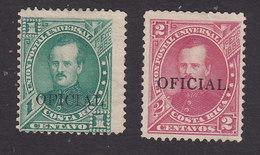 Costa Rica, Scott #O18-O19, Mint No Gum, Overprinted Issues, Issued 1887 - Costa Rica