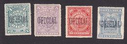 Costa Rica, Scott #O31, O33, O35-O36, Mint No Gum/Hinged, Overprinted Issues, Issued 1892 - Costa Rica
