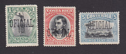 Costa Rica, Scott #O37-O39, Mint No Gum, Overprinted Issues, Issued 1901 - Costa Rica