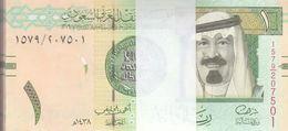 SAUDI ARABIA 1 RIYAL 2016 P-31d New KING Abd ALLAH LOT X100 Unc NOTES Bundle - Saudi Arabia