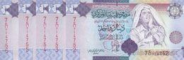LIBYA 1 DINAR 2009 P-71 SIG/10 Bengadara LOT X5 UNC NOTES */* - Libye