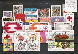 SLOVENIA  1992-2017,COMPLETE ,RED CROSS,SOLIDARITY,FIRE SAVETY,  ALL  ADHESIVE,selbstick  VARANTE,MNH - Croix-Rouge
