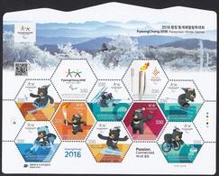 South Korea 2018 PyeongChang Winter Paralympics, Alpine Skiing, Biathlon, Ice Hockey, Jeux Paralympiques, Full Sheet - Corée Du Sud