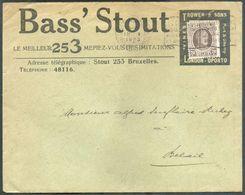 20 C. Houyoux Obl. Mécanique De Bruxelles (Midi) Sur Enveloppe Illustrée BASS ' STOUT (verso:  Trower & SOns - Londo Opo - 1922-1927 Houyoux