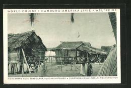 CPA Zamboanga, Fisherman's Huts, Des Enfants An Pêcheurhütten - Postcards