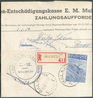 4Fr. Exportation Obl. Sc MALMEDY Sur Lettre Recommandée Du 13-6-1950 Vers Rodt (via Saint-VITH (verso : Sc 12, 21 Et 22 - 1948 Export