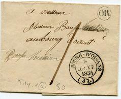 ISERE De BOURG D OISANS Dateur T 14+ Taxe Plume De 1+ Cachet OR Sur LSC Port Local Du 09/01/1854 - Postmark Collection (Covers)