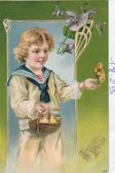 Paques : Gaufrée :  ( Enfant Et Poussins ) - Pâques