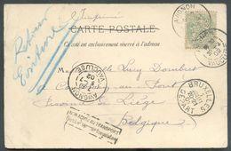 NON ADMIS - 5c. Blanc Obl. Dc AVIGNON Sur CV Du 30 Juin 1902 Vers Comblain-Au-Pont Via Bruxelles (1/07) + Man. Retour Ec - Marcophilie (Lettres)