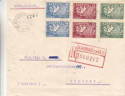 Lituanie - Lettre Recom De 1936 ° - Oblit Kaunas - Exp Vers Utrecht - Aviation - Pilote - - Lithuania