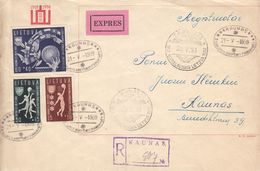 Lituanie - Lettre Recom Exprès De 1939 ° - Oblit Kaunas - Cachet Spécial De Kaunas - Basket Ball - Drapeaux - Rare - Lithuania
