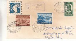 Lituanie - Lettre Recom De 1940 - Oblit Telsiai - Exp Vers Mazeikiai - Timbre NON Dentelés - Rare - Lithuania