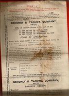 Rare Courrier Anglais Sekondi & Tarkwa London Londres 1909 - Banque - Glyn Mills Currie - United Kingdom