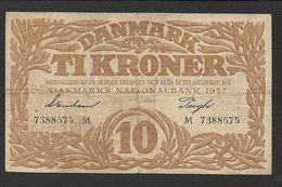 DANEMARK - Billet De 10 Kroner De 1937 - Danemark