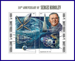 SIERRA LEONE 2017 MNH** Sergei Korolev Space Raumfahrt Espace M/S - OFFICIAL ISSUE - DH1802 - Space
