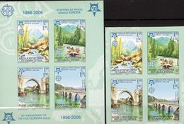 CEPT Drinabrücke 2005 Serbien-Bosna 339/2+Block 13 ** 140€ Imperf.Park Rafting 50 Jahre EUROPA Ss Bloc Sheet Bridge - Stamps
