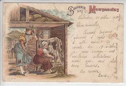 ALPES SUISSE - LITHO - SOUVENIRS DES MONTAGNES  - DOS UNIQUE - 31.10.1900 - ( Plis Et Dech En Haut Env 1 Cm )- S/TIMBRE - Altri