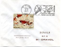 GERS - Dépt N° 32 = SEISSAN 1971 =  FLAMME CONCORDANTE = SECAP Illustrée ' Edouard LARTET / PREHISTOIRE ' - Postmark Collection (Covers)