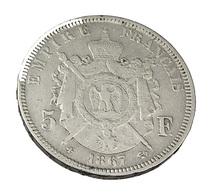5 Francs - Napoléon III - France - 1867 BB - Strasbourg  -  Tête Laurée  - Argent - TB - - France