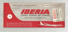 Billet D'embarquement Avion ,billete De Pasaje Y De Talon De Equipaje , IBERIA , Geneva/Madrid/Geneva , 20-08-1968 - Carte D'imbarco Di Aerei